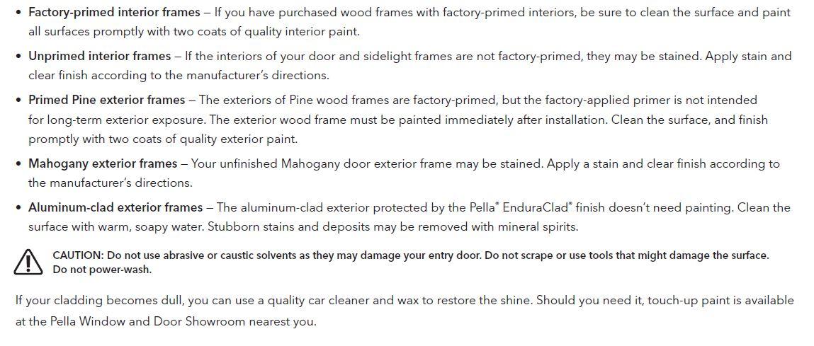 Finishing Pella® entry door frames